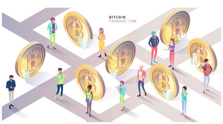 Concetto isometrico con bitcoin e persone. Città di bitcoin. Illustrazione vettoriale. Vettoriali