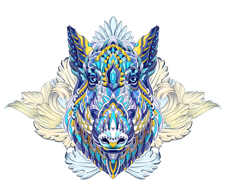 Patterned head of boar. Pig. Swine. Symbol of 2019. Tattoo design. It may be used for design of a t-shirt, bag, postcard, a poster and so on. Illusztráció