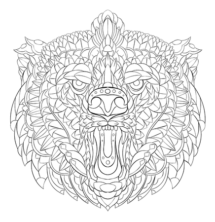 Patterned head of roaring bear. Tattoo design. It may be used for design of a t-shirt, bag, postcard, a poster and so on.