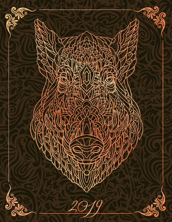 Patterned head of boar. Pig. Swine. Symbol of 2019. Calendar cover. It may be used for design of a t-shirt, bag, postcard, a poster and so on. Illustration