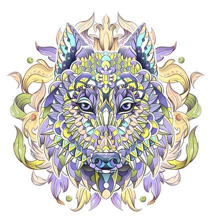 Patterned head of the wolf or dog on the background with acanthus leaves. African, indian, totem, tattoo design. It may be used for design of a t-shirt, bag, postcard, a poster and so on. Çizim