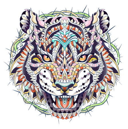Patterned head of the roaring tiger with crown of thorns. African, indian, totem, tattoo design. It may be used for design of a t-shirt, bag, postcard, a poster and so on. Illustration