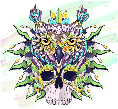 Patterned owl and skull on the grunge background. Bird. Tattoo design. It may be used for design of a t-shirt, bag, postcard, a poster and so on.