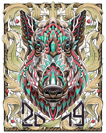 Patterned head of boar. Pig. Swine. Symbol of 2019. Calendar cover. It may be used for design of a t-shirt, bag, postcard, a poster and so on. Çizim