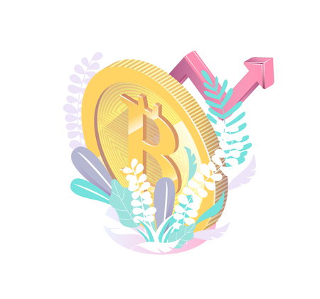 Isometric concept with bitcoin. Cryptocurrency.  Vector illustration. Çizim