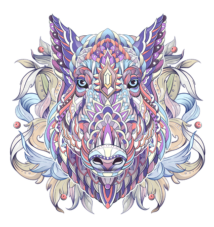 Patterned head of boar. Pig. Swine. Symbol of 2019. Tattoo design. It may be used for design of a t-shirt, bag, postcard, a poster and so on. Çizim