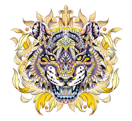 Patterned head of the roaring tiger on the background with acanthus leaves. African, indian, totem, tattoo design. It may be used for design of a t-shirt, bag, postcard, a poster and so on.