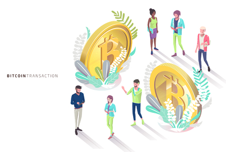 Isometric concept with bitcoins and people. Vector illustration.