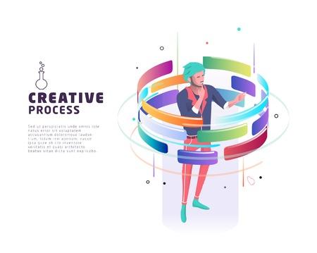 Concepto isométrico de proceso creativo. Concepto de negocio. Ilustración vectorial.