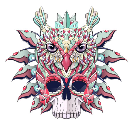 Patterned owl and skull. Bird. African, indian, totem, tattoo design. It may be used for design of a t-shirt, bag, postcard, a poster and so on.