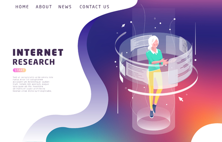 Isometric concept with woman and augmented reality. Internet research. Vector illustration.