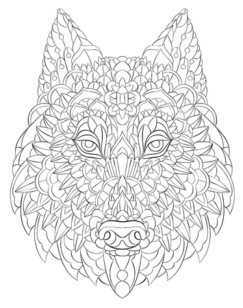 Patterned head of wolf. Dog.Tattoo design. It may be used for design of a t-shirt, bag, postcard, a poster and so on.
