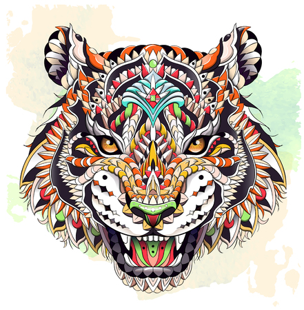 Patterned head of the roaring tiger on the grunge background. African, indian, totem, tattoo design. It may be used for design of a t-shirt, bag, postcard, a poster and so on. Illustration