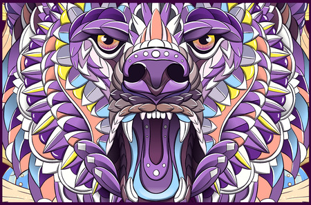 Patterned head of roaring bear. Tattoo design. It may be used for design of a t-shirt, bag, postcard, cover, poster and so on.
