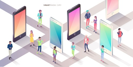Smartphone city. Isometric concept. Vector illustration.