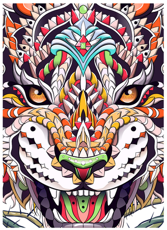 Patterned head of the roaring tiger. African, indian, totem, tattoo design. It may be used for design of a t-shirt, bag, postcard, a poster and so on. Illusztráció