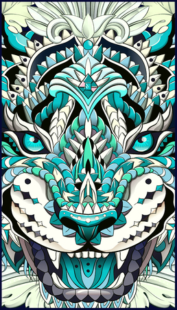 Patterned head of the roaring tiger. African, indian, totem, tattoo design. It may be used for design of a t-shirt, bag, postcard, a poster and so on.