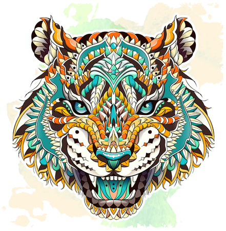 Patterned head of the roaring tiger on the grunge background. African, indian, totem, tattoo design. It may be used for design of a t-shirt, bag, postcard, a poster and so on. Çizim