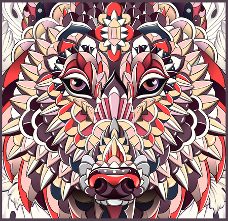 Patterned head of the wolf or dog. Tattoo design. It may be used for design of a t-shirt, bag, postcard, cover, poster and so on.