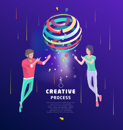 Isometric concept of creative concept. Two people create new ideas with sphere. Business concept. Vector illustration.
