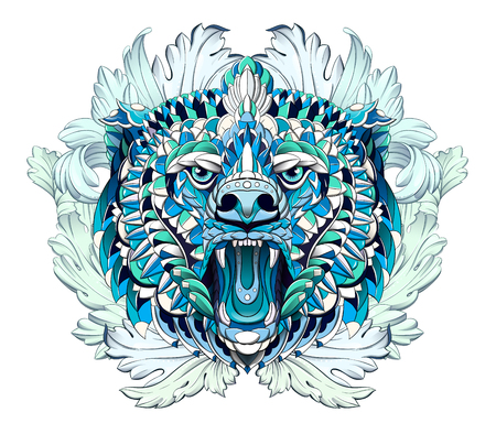 Patterned head of the roaring bear on the background with acanthus leaves. African, indian, totem, tattoo design. It may be used for design of a t-shirt, bag, postcard, a poster and so on.