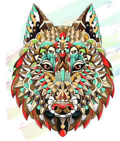 Patterned head of  the wolf on the grunge background. Dog. Tattoo design. It may be used for design of a t-shirt, bag, postcard, a poster and so on.