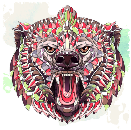 Patterned head of roaring bear on the grunge background. Tattoo design. It may be used for design of a t-shirt, bag, postcard, a poster and so on.