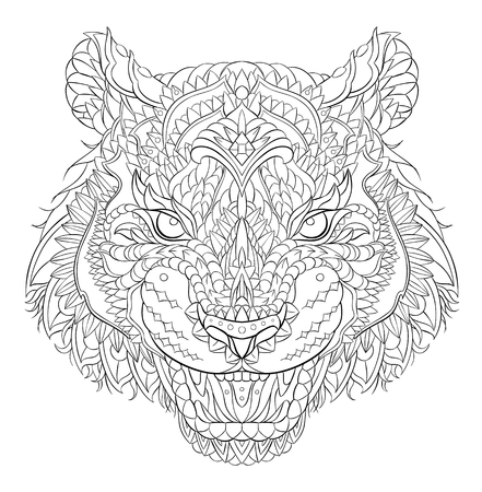 Patterned head of the roaring tiger. African,  indian, totem, tattoo design. It may be used for design of a t-shirt, bag, postcard, a poster and so on. Reklamní fotografie - 117031877