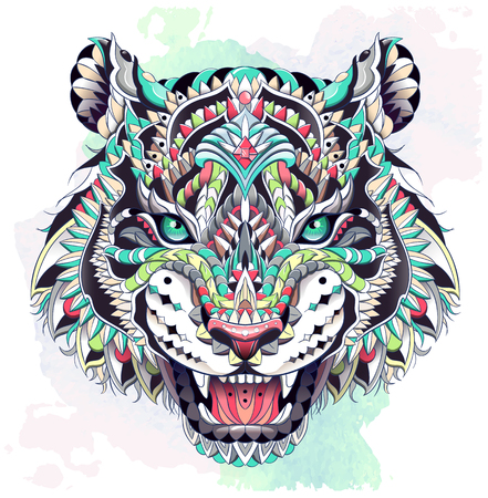Patterned head of the roaring tiger on the grunge background. African, indian, totem, tattoo design. It may be used for design of a t-shirt, bag, postcard, a poster and so on.