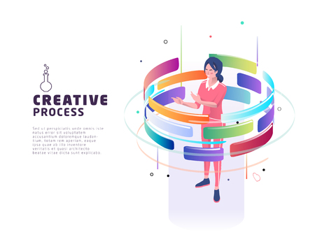 Isometric concept of creative process. Business concept. Vector illustration. Çizim