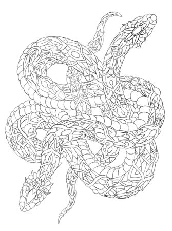 Patterned two snakes on the grunge background. Tattoo design. It may be used for design of a t-shirt, bag, postcard, a poster and so on.