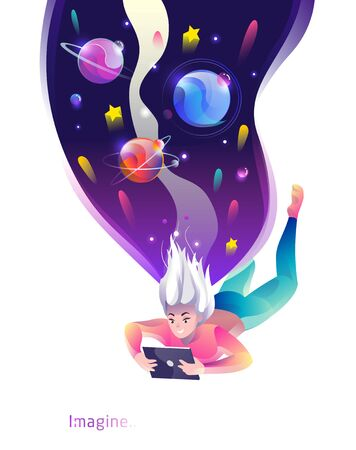 Concept in flat style with woman falling down with tablet. Space and planets.  Internet freedom, free wifi, on-line education, game, on-line shopping, reading, inspiration. Vector illustration.
