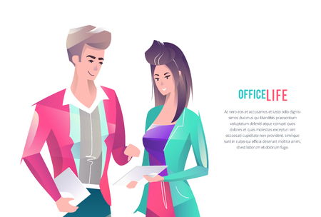Concept in flat style with office workers. Man and woman are using a digital tablet together.Coworking. Businessman. Vector illustration.