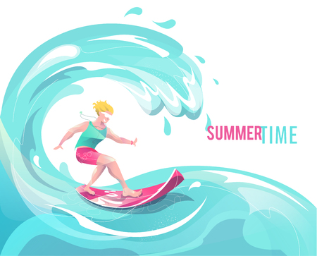 Concept in flat style with surfing man. Vacation, relaxion, extreme. Vector illustration.