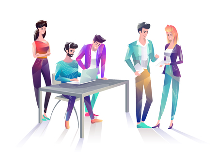 Concept in flat style with office workers. Man and woman are using a digital tablet and laptop. Creative atmosphere. Vector illustration.