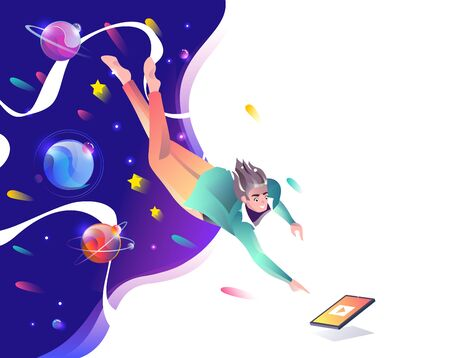 Concept in flat style with man falling down to tablet. Planets and space. Internet freedom, free wifi, on-line education, game, reading, inspiration. Vector illustration.