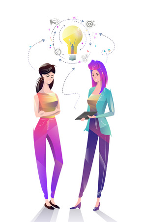 Concept in flat style with office workers. Women are using a digital tablet together. Discussion of idea. Startup. Coworking. Businessman. Vector illustration.