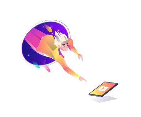 Concept in flat style with man falling from teleport. Tablet, internet freedom, free wifi, augmented reality, on-line education, game,  reading, inspiration. Vector illustration.