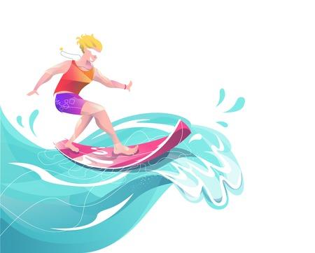 Concept dans un style plat avec surf homme. Vacances, détente, extrême. Illustration vectorielle.