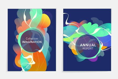 Set of designs for flyer, broshure, book's cover, poster, web, annual report. Abstract and colorful. Geometry.  Vector illustration.