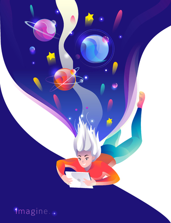 Concept in flat style with woman falling down with tablet. Space and planets. Education, game, reading, inspiration, imagination, fantasy. Vector illustration. Çizim