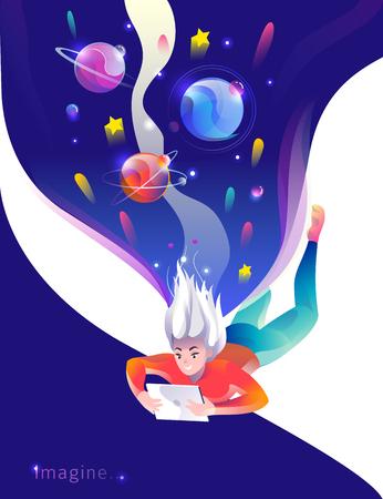 Concepto de estilo plano con mujer cayendo con tableta. Espacio y planetas. Educación, juego, lectura, inspiración, imaginación, fantasía. Ilustración de vector.