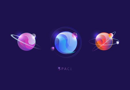 Set of colorful futuristic planets. Space.  It can be used for banners, flyers, broshure, book covers.