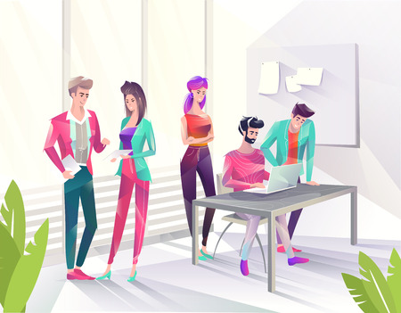 Concept in flat style with office workers. Man and woman are looking at laptop and tablet. Businessman. Creative atmosphere. Vector illustration.