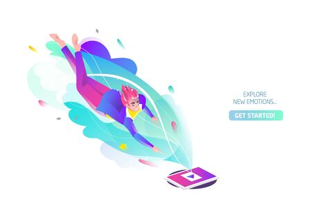 Concept in flat style with man falling to tablet. Internet freedom, free wifi, on-line education, game, reading, inspiration. Vector illustration. Çizim