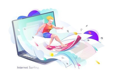 Concept in flat style with man surfing through internet. Business and news. Vector illustration.