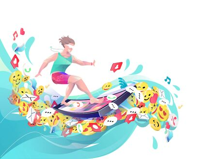 Concept in flat style with man surfing through internet. Business, news, socialnets, emoji.  Vector illustration.