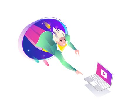 Concept in flat style with man falling from teleport. Laptop, internet freedom, free wifi, augmented reality, on-line education, game,  reading, inspiration. Vector illustration. Çizim