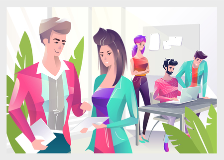 Concept in flat style with office workers. Man and woman are using a digital tablet. On the background man and woman are looking at laptop. Creative atmosphere. Vector illustration.