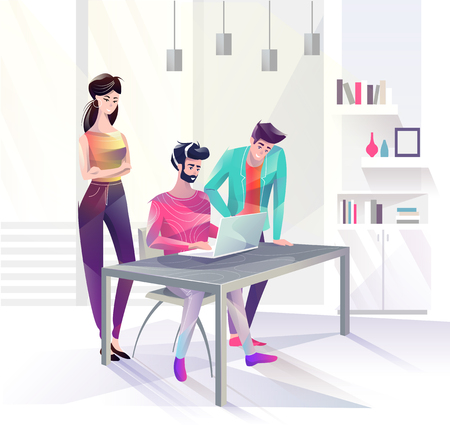 Concept in flat style with office workers. Man and woman are looking at laptop. Businessman. Creative atmosphere. Vector illustration. Stock Illustratie